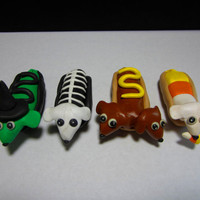 Halloween Dachshund Hot Dog Figure Set of 4 by TNZsculptures