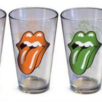 ROCKWORLDEAST - Rolling Stones, Glass Mug Set, Tongues, 4 Pack