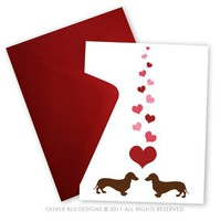 Dachshunds in Love Set of 5 Greeting cards by oliverbludesigns