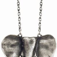 BIG & LONG Silver/Pewter Taj Elephant Necklace - Long 32