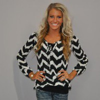 Simply Fabulous Black and White Chevron Tie Blouse