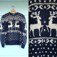 1980s. navy & white reindeer and polka dots wool sweater. s-l