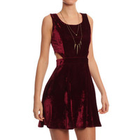 Hearts & Bows Plum Delaware Velvet Cut Out Skater Dress