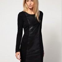 Wholesale Fashion Long Sleeve Leather And Fabric Dress Black  http://www.wholesale-dress.net