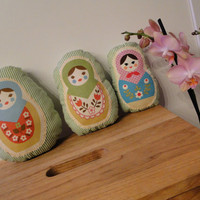 Russian Nesting Dolls Matryoshka Plush Set in Green by ashypie2004