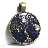 Purple Glitter & Antique Gold Steampunk Tree of Life Resin Pendant