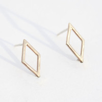 Gold Diamond Shape Earrings, 14 kt Gold filled wire, Diamond Shape, Simple Studs, Gold Studs, Everyday Earrings, Geometric Earrings