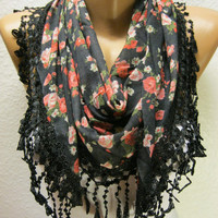 New - Gift Scarf -  Flowered Scarf with  Trim Edge - Triangular