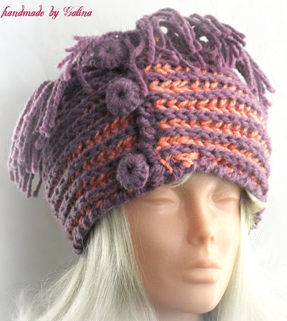 Free Crochet Pattern Headband Ear Warmer : Hand Knit Ear Warmer Headband with from Gaitaly2 on Etsy