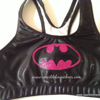 Batty Hot Pink Super Hero Metallic Sports Bra Cheerleading