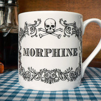 New Morphine Cup. Unique gift for men, mug for coffee, tea or misc Christmas tipple. Funny christmas gift for him, gift for her.