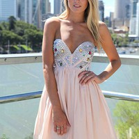 Light Pink Strapless Dress with Sequin&amp;Jewel Detail