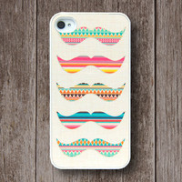 iPhone Case, iPhone 4 Case, iPhone 4S Case, iPhone Case 4/4S - Aztec Mustache - 005