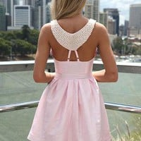 Pink Dress with Beaded Back Detail & Pleated Skirt