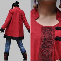 Designbymea - Market Place - Red Coat/ asymmetric pullover Coat