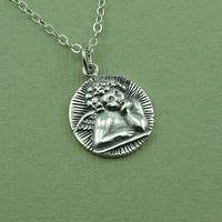 Cherub Necklace - 925 sterling silver coin pendant - angel jewelry - gift