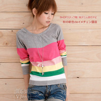 Wholesale Cotton Kintting Colorful Grey Striped Shirt www.wholesale-dress.net