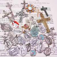 Vintage Catholic Medal Lot Crosses, Saints  Rosary Destash Lot