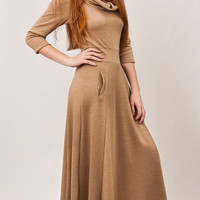 Camel maxi dress, wool Knit dress, cut waistband, long half circle skirt, turtle neck