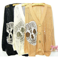 New Fashion Women's Casual Loose Big Skull Knit Sweater V-neck Hollow Cardigans