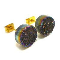 Rainbow Flame Druzy Stud Earrings n24 by AstralEYE on Etsy