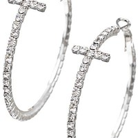 Cross Rhinestone Hoops- Silver