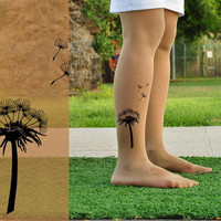 Tattoo Tights - DANDELION - size  S / M / L / XL full length Pantyhose- light mocha