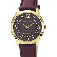 Anne Klein Watch, Women's Purple Leather Strap 36mm AK-1066PMPR - Women's Watches - Jewelry & Watches - Macy's
