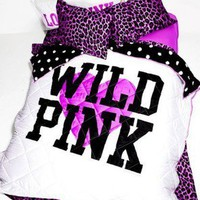 VICTORIA&#x27;S SECRET VS LOVE PINK LEOPARD WILD COMFORTER QUEEN BED SHEET SET :)
