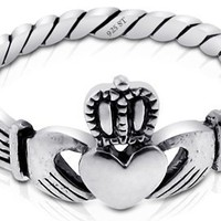 Nickel Free Sterling Silver Irish Claddagh Friendship and Love Polish Finish Band Ring (6)
