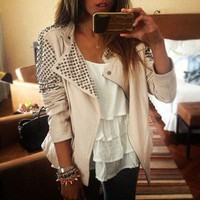 Bad Girls Club  Cream Cone Studded Leather Jacket