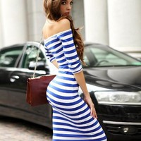 Vintage Striped Long Dress Blue