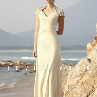 AttractiveS heath/ Column V-neck Floor-length Chiffon Evening Dresses - LoveSeason.com
