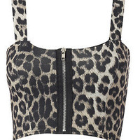 NEW WOMENS LEOPARD PRINT FRONT ZIP BOOBTUBE BRA BRALET LADIES VEST TOP / 8-14