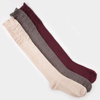 FULL TILT 3 Pack Scrunch Top Womens Knee High Socks 202845320 | gifts under $25 | Tillys.com
