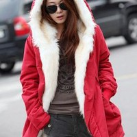 Red Lambswool Hooded Long Sleeve Coat