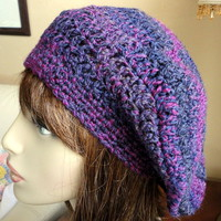 Purple Orchid Slouchy Hat Girls Teens Ladies Crocheted Handmade Soft
