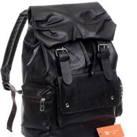 Black PU Leather-like Material Backpack School Bag Cool for School