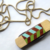 Vintage Pocket Knife Necklace with Hand Painted Chevron Stripe - Green and Blue
