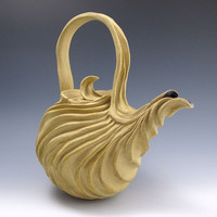 Naked Tan Stoneware Carved Organic Teapot