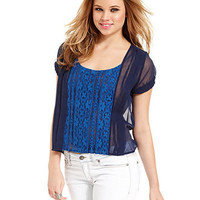 Jessica Simpson Juniors Top, Short Sleeve Lace Chiffon - Juniors Tops - Macy's