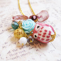 Whimsical Pink Owl Necklace - Mint Blue Rose - Polka Dot Organza Bow - Cluster Necklace - Short Dangle Charm Necklace