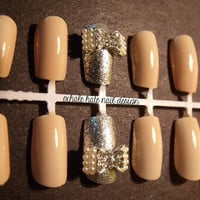 3D Pearl Bow False Nail Set