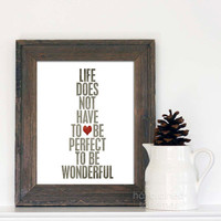 Wonderful Life Digital Typography Art Print Gray Red Heart