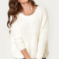 Catch My Snowdrift Fuzzy White Sweater