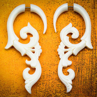 White Rosemary Curls Bone Fake Gauges by TribalStyle on Etsy