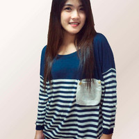 Stripped Jumper Women - (Available in Navy Blue, Baby Blue and Pink)