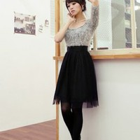 Ladies Autumn Gray & Black Gauze Dresses : Wholesaleclothing4u.com