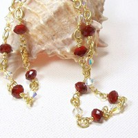 Red Crystal and Gold Link Necklace 19 inches