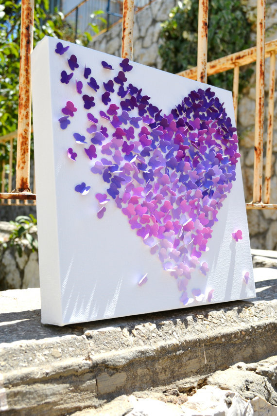 Purple ombre butterfly heart 3d from ronandnoy on etsy art - Purple ombre wall ...